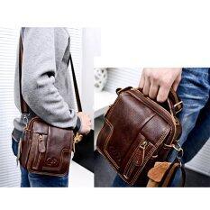 ราคา Whyus คนแพ็คกระเป๋าหนังโบราณธุรกิจกระเป๋าเอวไหล่กากบาท สีน้ำตาล Unbranded Generic เป็นต้นฉบับ