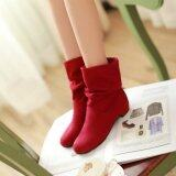 ซื้อ Winter Fashion Martin Boots Female Knight Boots Shoes Matte Suede Boots For Women Red