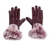 ความคิดเห็น Winter Pu Leather Mittens Lady Elegant Female Rabbit Hair Gloves Burgundy Intl