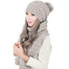 ซื้อ Winter Women Warm Scarf Wrap Hat Set Knitted Knitting Skullcaps Beige Intl Intl