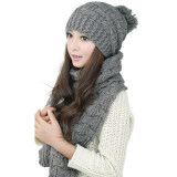 ขาย Winter Women Warm Scarf Wrap Hat Set Knitted Knitting Skullcaps Gray Intl ออนไลน์