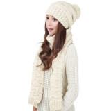 ส่วนลด Winter Women Warm Scarf Wrap Hat Set Knitted Knitting Skullcaps White Intl Intl Vakind