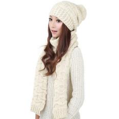 ราคา ราคาถูกที่สุด Winter Women Warm Scarf Wrap Hat Set Knitted Knitting Skullcaps White Intl Intl