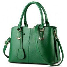 ส่วนลด กระเป๋าแฟชั่นเกาหลีผู้หญิงน่ารักสีเขียวเข้ม