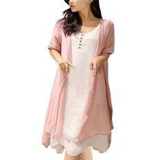 ซื้อ หญิงสาวปล่อยชาย Vestidos เสื้อแขนกุด Boho แมกซี่ยาวผ้าแต่งตัว ทนกว่าเสื้อไซส์พิเศษฤดูแฟชั่นแต่งตัวสีชมพู ถูก