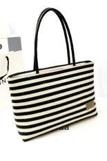 โปรโมชั่น Women Black White Stripe Canvas Bag Vintage Fashion All Match Handbag Black Unbranded Generic