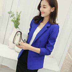 ซื้อ Women Blazers Jackets Suit Spring Autumn Single Button Female Ladies Blazer Dark Blue Intl ออนไลน์ ถูก