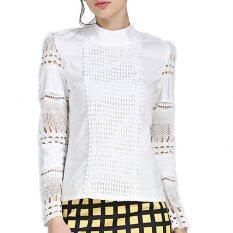 ซื้อ เสื้อสตรีไซส์พิเศษ S 5Xl งดงามแขนเสื้อยาวปี 2559 ขาวผอมถักลูกไม้ผ้าฝ้ายเสื้อสตรีเสื้อเชิ้ตกลวง ถูก จีน