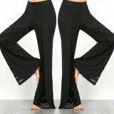ขาย ผู้หญิง Boho สูงเอวกางเกงขายาวกางเกงขากว้างกางเกงขายาวกางเกงหลวม สีดำ นานาชาติ ออนไลน์ จีน