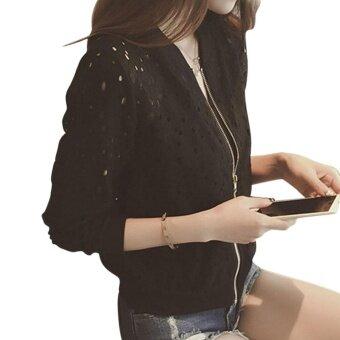 <p>เสื้อคลุมลายฉลุผู้หญิงกันแดดแขนยาวสไตล์เสื้อเบสบอล สีดำ</p>