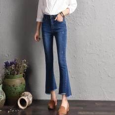 Women Bootleg Nine Jeans Korean New Fashion Lady Flared Ankle Jeans Irregular Tassel Cuffs Slim Elegant Trousers Intl เป็นต้นฉบับ