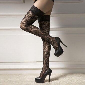 Women Butterfly Print Lace Top Thigh-High Stockings - intl
