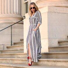 ส่วนลด Women Casual Maxi Party Striped Long Maxi Shirt Dress Black Intl Intl