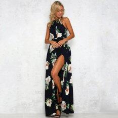 ขาย ซื้อ ออนไลน์ Women Chiffon Dress Floral Print Halter Sleeveless Split Backless Hollow Out Beach Maxi Gown Elegant Party One Piece Intl