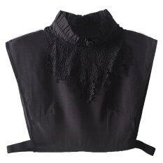 ผู้หญิงชีฟองลูกไม้ออกแบบเสื้อครึ่งตัวปลอมๆที่ถอดออกได้เสื้อปลอกคอหน้าอกยืดหยุ่นสีดำ - Intl.