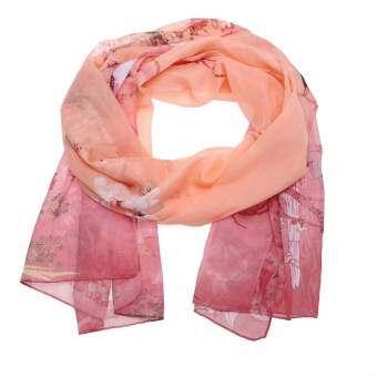 Women Chiffon Scarf Magpie Printing Elegant Shawls Silk Scarf (Pink) - intl