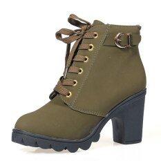 ราคา ราคาถูกที่สุด ผู้หญิงที่สวมรองเท้าบู๊ตส้นสูงเดินตึกเตี้ย ๆ หนาว Nubuck รัดเข็มขัดNmartin รองเท้าเรือกองทัพสีเขียว