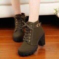 ขาย Women Chunky Block รองเท้าส้นสูงฤดูหนาว Nubuck Martin รองเท้าบูทกองทัพสีเขียว Unbranded Generic ออนไลน์