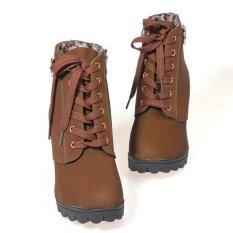 โปรโมชั่น Women Chunky Block High Heel Ankle Boots Winter Nubuck Buckle Martin Boot Shoes Brown Unbranded Generic