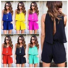 Women Clubwear Summer Beach Playsuit Bodycon Jumpsuit Backless Romper Trousers Black Intl ใน จีน