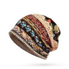 ผู้หญิงผ้าฝ้ายพิมพ์หมวกบีนนี่ลายทางหมวกหมวกกลางแจ้งสำหรับทั้งหมวกและผ้าพันคอ - Intl.