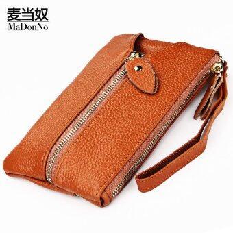 Women Cow Leather Fashion Wristlets Bag Color Brown Size:16*9.6*2cm - intl
