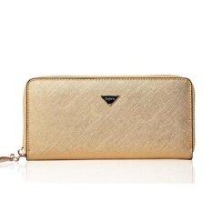 ราคา Women Cowhide Leather Long Wallet Large Capability Zipper Purse Business Phone Bag Handbag Gold Intl Unbranded Generic จีน