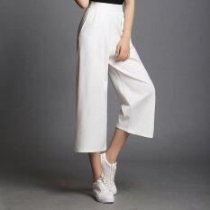 ราคา ผู้หญิงตัดกางเกงขากว้างตรงยืดหยุ่นเอวสูงหญิงหลวมกางเกง นานาชาติ จีน