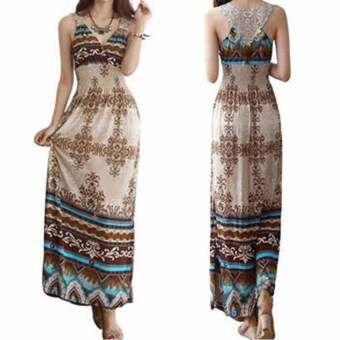 Women Dress Floral V-Neck Beach Bohemian Maxi Dress Long Dress - intl-