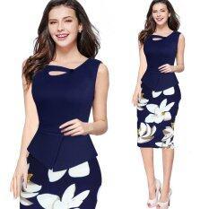 ซื้อ ชุดเดรสสำหรับสุภาพสตรีฤดูร้อนชุดดินสอพิมพ์ลายดอกไม้ชุดราตรีชุดกระโปรงชุดลำลองพลัสขนาด S 5Xl สีน้ำเงินเข้ม นานาชาติ ออนไลน์ จีน