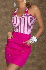 ซื้อ Women Dress Striped Patchwork Pin Up Party Spaghetti Strap Mini Dresses Rose N188 ใน จีน