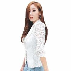 ผู้หญิงแฟชั่นเกาหลีสลิมสลิมเย็บเสื้อสูทธุรกิจเสื้อผู้หญิงสีขาว - สนามบินนานาชาติ.