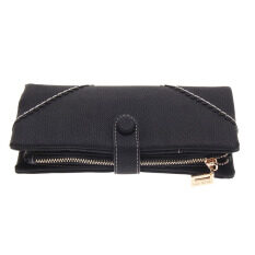 Women Fashion Leather Wallet Purse Black ถูก