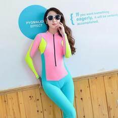 ขาย แฟชั่นผู้หญิงงานเย็บปะผ้าสองชิ้นชุดว่ายน้ำป้องกันแสงแดด ฟ้า นานาชาติ ออนไลน์ จีน