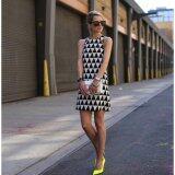 ราคา Women Fashion Shift Dress Sleeveless O Neck Geometric Print Black White Intl ออนไลน์ จีน