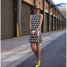 โปรโมชั่น Women Fashion Shift Dress Sleeveless O Neck Geometric Print Black White Intl Unbranded Generic