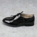 ส่วนลด Women Faux Polished Leather Oxford Pointed Flat Shoes Brogues For Formal Working Size42 Black จีน