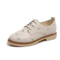 ทบทวน ที่สุด Women Flat Heel Flower Pumps Shoes Beige Intl