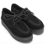 ขาย ซื้อ Women Flats Shoes Black Faux Suede Lace Up High Goth Punk Checker Platform Creeper Ladies Shoes ใน Thailand