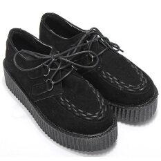 ทบทวน Women Flats Shoes Black Faux Suede Lace Up High Goth Punk Checker Platform Creeper Ladies Shoes Unbranded Generic