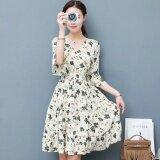 โปรโมชั่น Women Floral Chiffon Dress Summer Short Sleeve A Line Dresses V Neck Intl Unbranded Generic ใหม่ล่าสุด