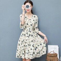 ขาย ซื้อ Women Floral Chiffon Dress Summer Short Sleeve A Line Dresses V Neck Intl จีน
