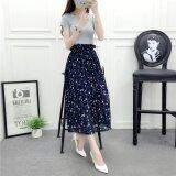ความคิดเห็น Women Floral Chiffon Skirt Lady Elegant Midi Pleated Shirts With Lining Elastic Waist Printing Skirts One Size Skirting Intl