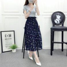 โปรโมชั่น Women Floral Chiffon Skirt Lady Elegant Midi Pleated Shirts With Lining Elastic Waist Printing Skirts One Size Skirting Intl Unbranded Generic ใหม่ล่าสุด