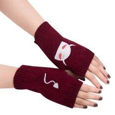 ผู้หญิงสาวปลอกแขนเปลือยนิ้ว Warm ถุงมือฤดูหนาวนุ่มถุงมือให้ความอบอุ่น We - Intl By Huimarket.