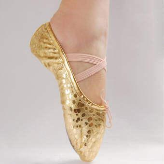ซื้อที่ไหน เด็กผู้หญิงกางเกงยีนส์หนังชี้รองเท้าเต้นรำยิมนาสติกบัลเล่ต์ทอง