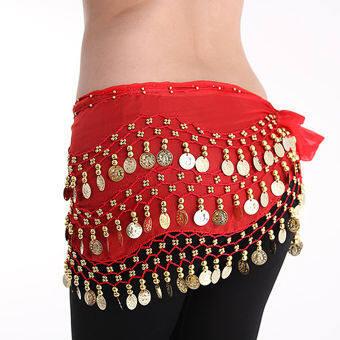 โลหะสีทองสำหรับผู้หญิงเหรียญห่วงโซ่ตกแต่งหน้าท้องเต้นรำเข็มขัดผ้าพันคอสะโพกกระโปรงสีแดง - INTL-