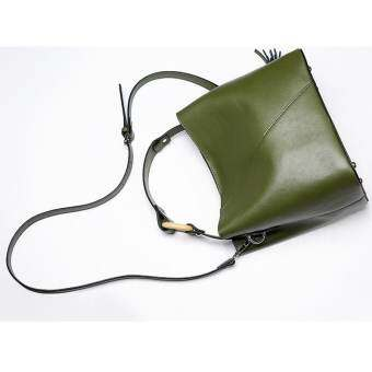 Munoor กระเป๋าถือสตรีหนังวัวแท้ 100% กระเป๋าสะพายกระเป๋าถือด้านบน (สีเขียว) - สนามบินนานาชาติ-