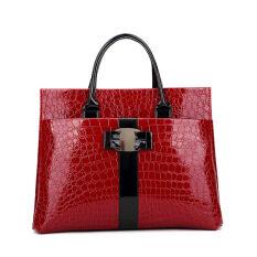 ราคา Women Handbags Patent Leather Crocodile Bags Vintage Tote Bags Red Unbranded Generic