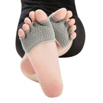 ผู้หญิงที่มองไม่เห็นโยคะยิมไม่ลื่นถุงเท้าครึ่ง Heel ห้านิ้วถุงเท้า GY
